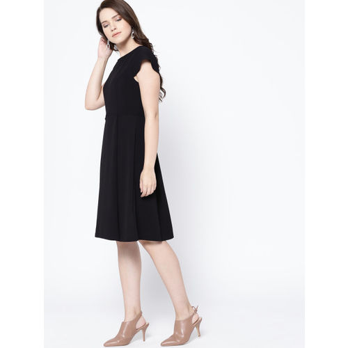 her by invictus Women Black Solid Fit and Flare Dress