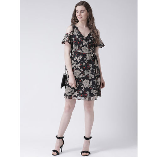 Leo Sansini Women Black Printed Wrap Dress