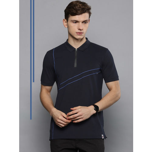 Louis Philippe Ath.Work Men Navy Blue Slim Fit Printed Polo Collar T-shirt