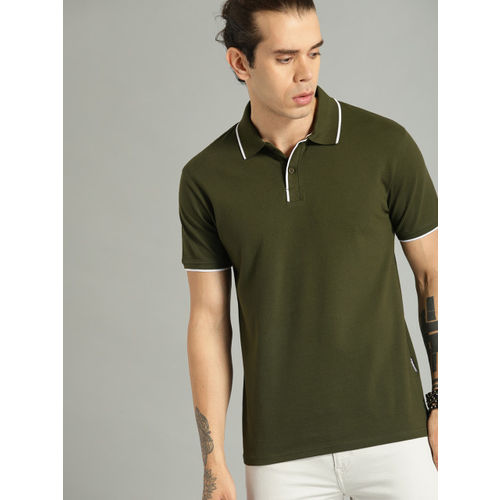 Roadster Men Olive Green Solid Polo Collar T-shirt