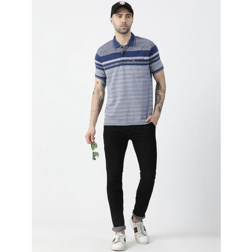 Monte Carlo Men Blue Striped Polo Collar T-shirt