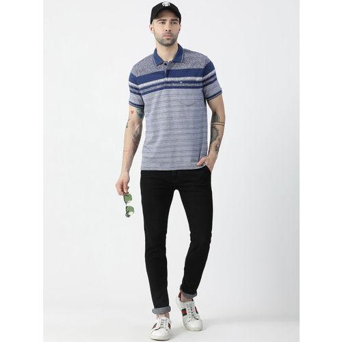 Monte Carlo Men Blue Striped Polo Collar T-shirt