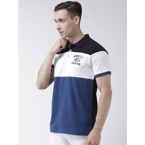 Club York Men Blue & White Colourblocked Polo Collar T-shirt