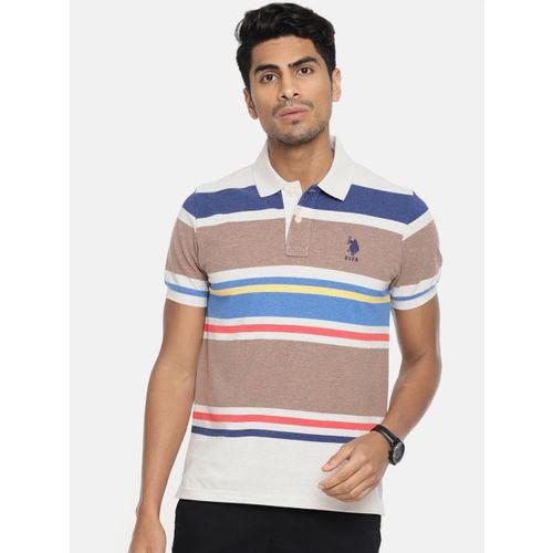 U.S. Polo Assn. Men Multicoloured Striped Polo Collar T-shirt
