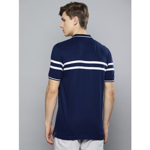 Louis Philippe Sport Men Navy Blue Striped Polo Collar T-shirt