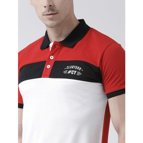 Club York Men Red & White Colourblocked Polo Collar T-shirt