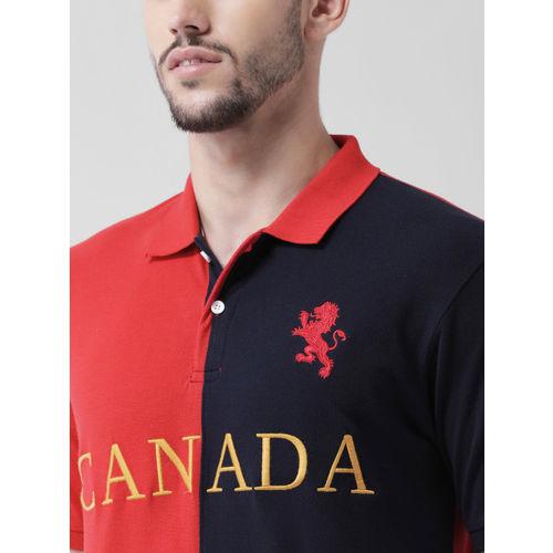 COBB Men Red & Blue Colourblocked Polo Collar T-shirt