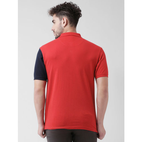 COBB Men Red & Blue Colourblocked Polo Collar T-shirt