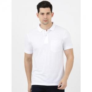 Cloak & Decker by Monte Carlo Men White Solid Polo Collar T-shirt