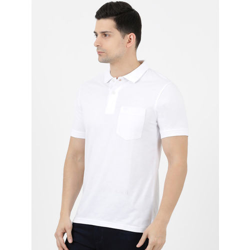Cloak & Decker by Monte Carlo Men White Solid Polo Collar T-shirt