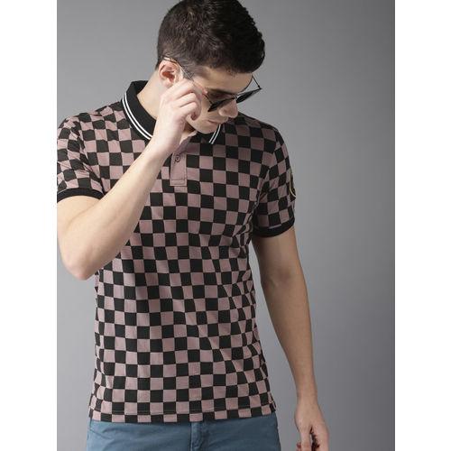 Moda Rapido Men Mauve & Black Checked Polo Collar T-shirt