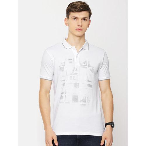 Pepe Jeans Men White Printed Polo Collar T-shirt