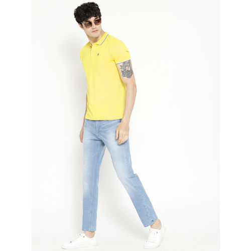 Pepe Jeans Men Yellow Solid Polo Collar T-shirt