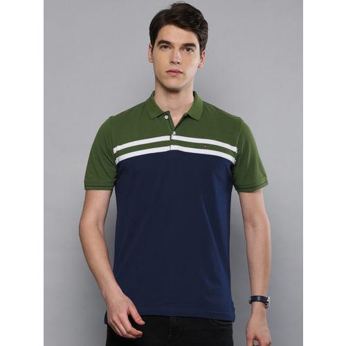 Louis Philippe Sport Men Navy Blue & Olive Green Colourblocked Polo T-shirt