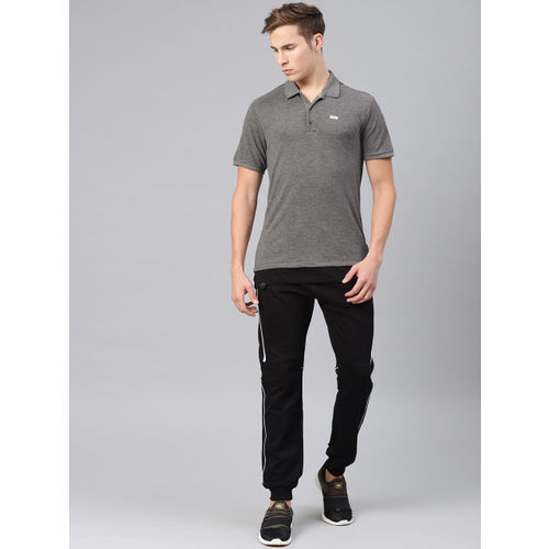 HRX by Hrithik Roshan Men Charcoal Grey Solid Polo Collar Lifestyle T-shirt