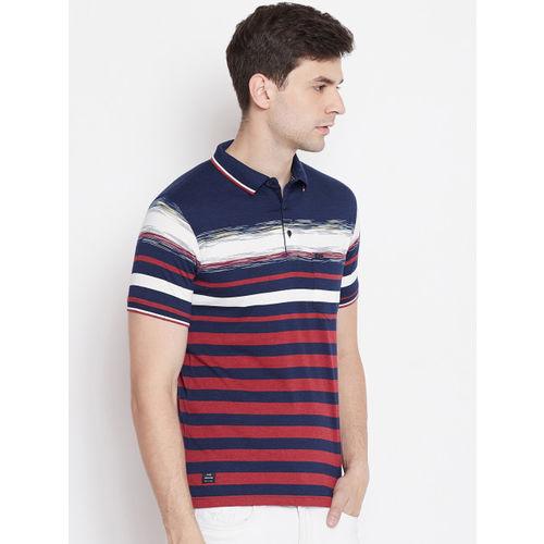 Okane Men Red & Blue Striped Polo Collar T-shirt