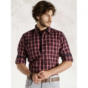 Roadster Red & Navy Checked Casual Shirt