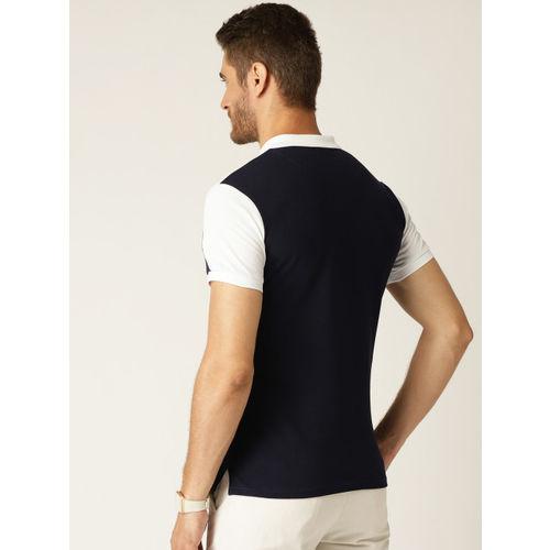 United Colors of Benetton Men Blue & White Colourblocked Polo Collar T-shirt