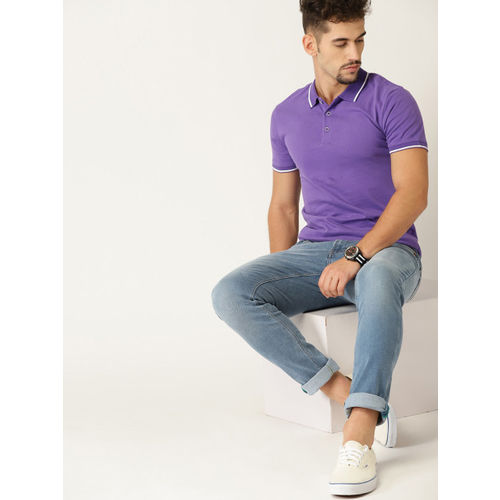 United Colors of Benetton Men Purple Solid Polo Collar T-shirt