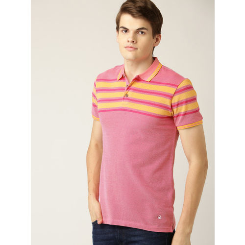 United Colors of Benetton Men Pink Self Design Polo Collar T-shirt