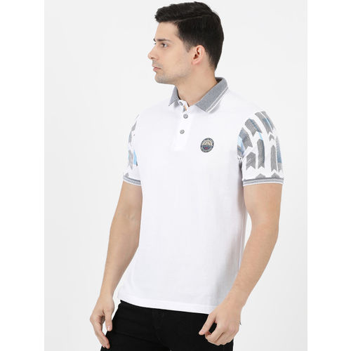 Monte Carlo Men White Solid Polo Collar T-shirt