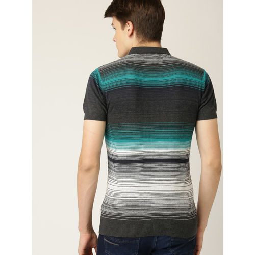 United Colors of Benetton Men Charcoal Grey & Green Striped Polo Collar T-shirt