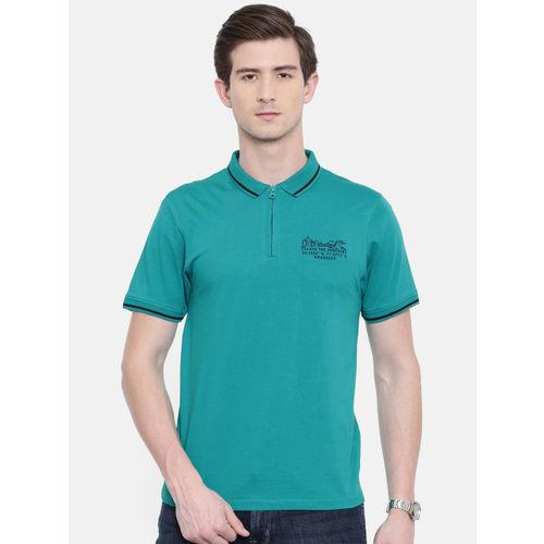 Wrangler Men Teal Solid Polo Collar T-shirt
