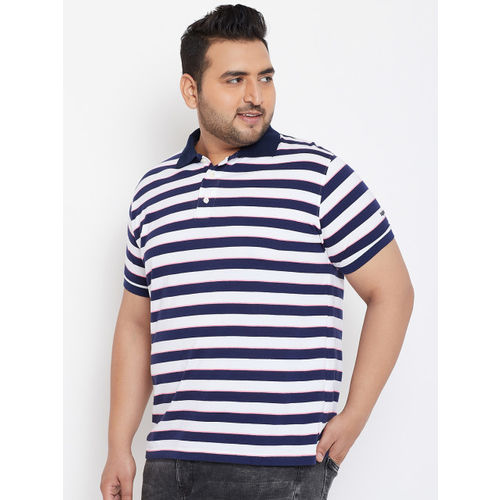 bigbanana Men White & Navy Blue Striped Polo Collar T-shirt