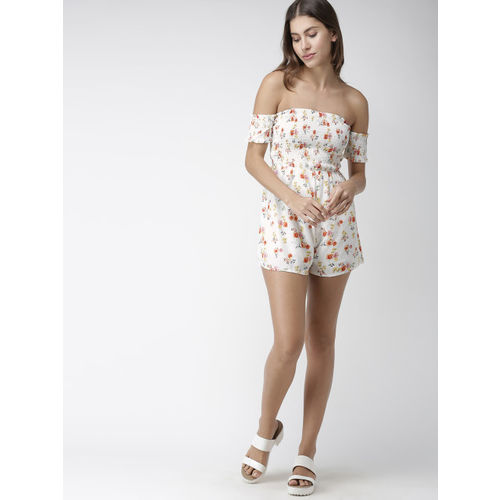FOREVER 21 White & Red Printed Playsuit