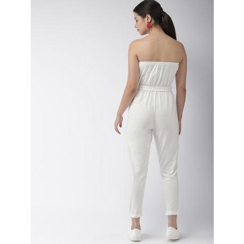 FOREVER 21 White Solid Basic Tube Jumpsuit