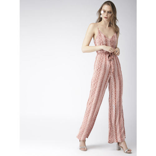 FOREVER 21 Women White & Rust Brown Printed Basic Jumpsuit