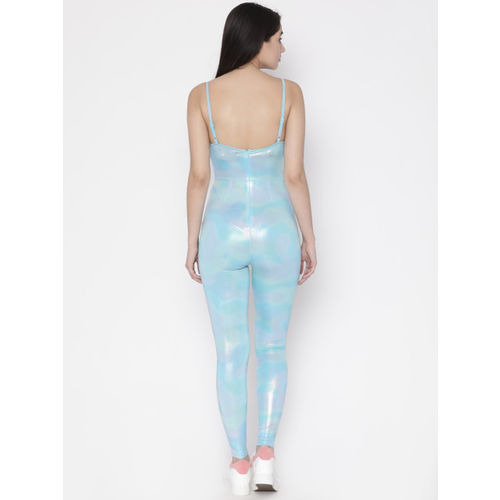FOREVER 21 Blue Self Design Basic Jumpsuit