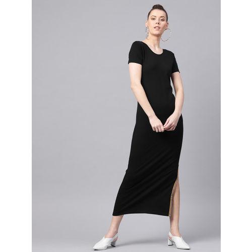 SASSAFRAS Women Black Solid Maxi Dress
