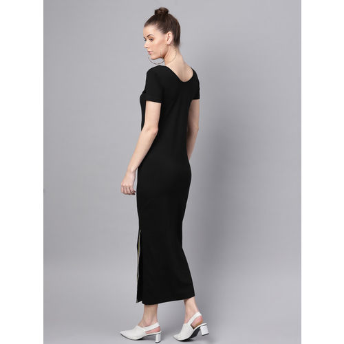 SASSAFRAS Women Black Solid Maxi Dress