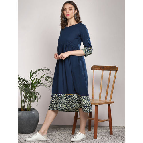 Sangria Women Navy Blue Solid Fit & Flare Dress