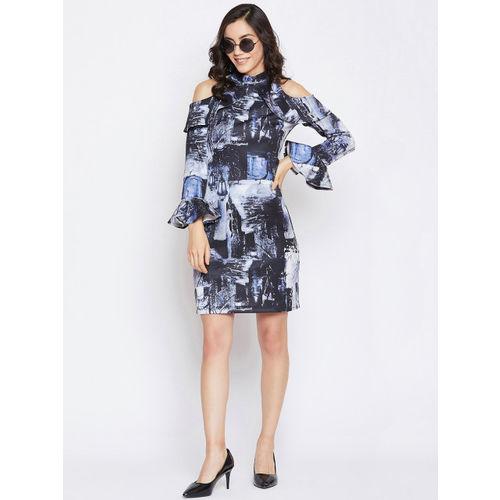 Imfashini Women Navy Blue Sheath Dress