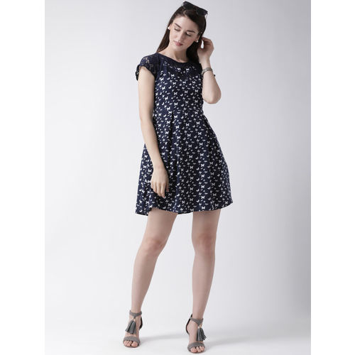 MsFQ Women Navy Blue Printed Fit and Flare Dress
