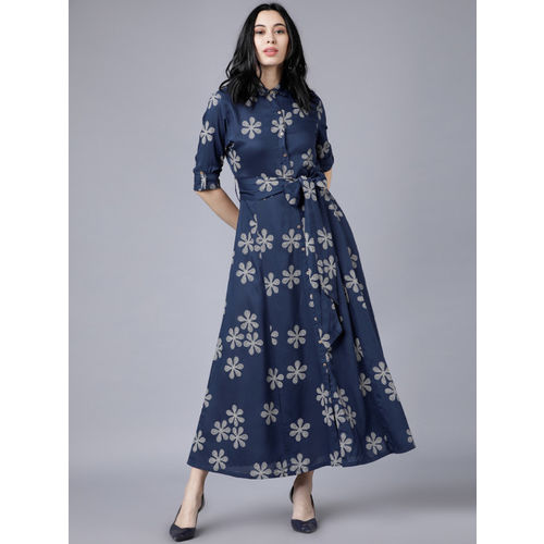 Vishudh Women Navy Blue Printed Shirt Dress