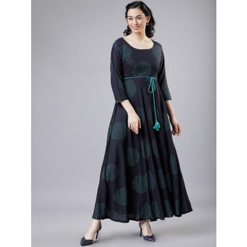 Vishudh Women Navy Blue & Green Maxi Dress