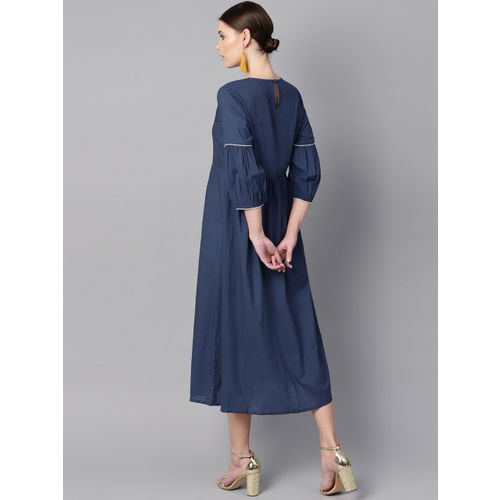 AASI - HOUSE OF NAYO Women Navy Blue Solid Fit & Flare Dress