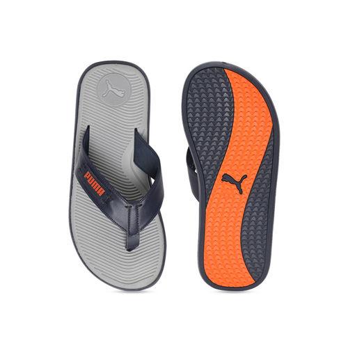 Puma Men Grey Solid Thong Flip Flops