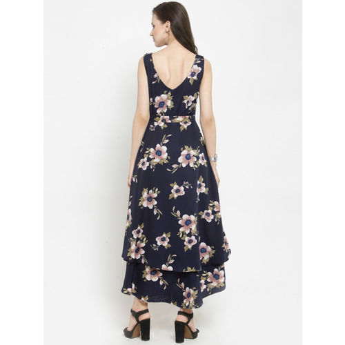 Just Wow Women Navy Blue Printed Fit and Flare Dress