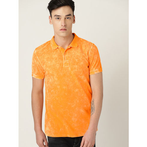 United Colors of Benetton Men Yellow Washed Polo Collar T-shirt