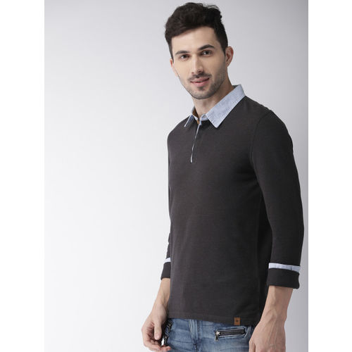 Celio Men Charcoal Grey Solid Polo Collar T-shirt