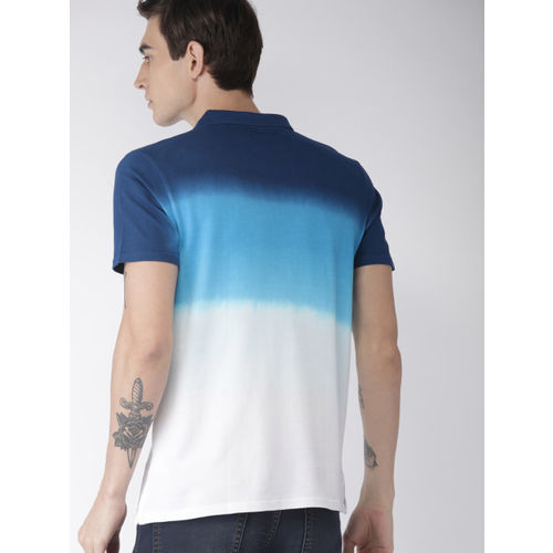 Harvard Men Blue & White Dyed Polo Collar T-shirt