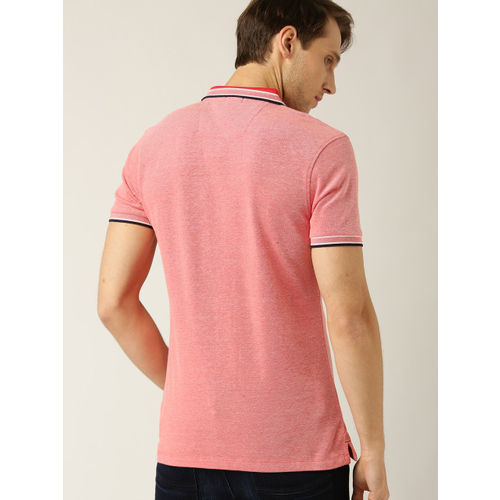 United Colors of Benetton Men Peach-Coloured Solid Polo Collar T-shirt