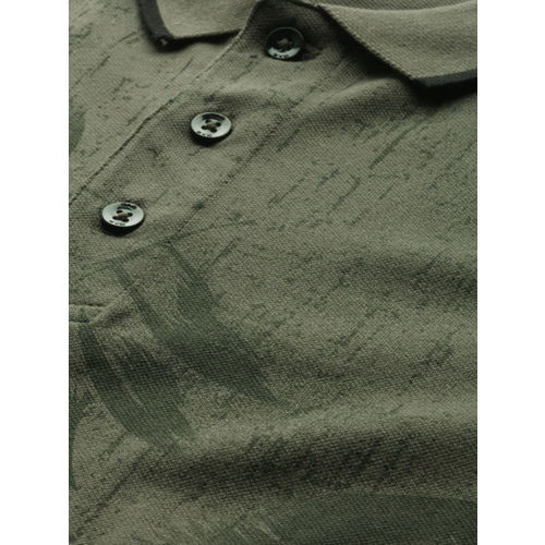 GAS Men Olive Green Printed Polo Collar T-shirt