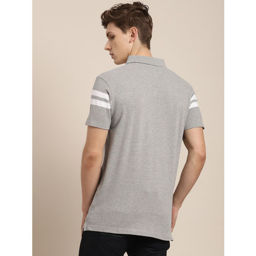 INVICTUS Men Grey & White Striped Polo Collar T-shirt