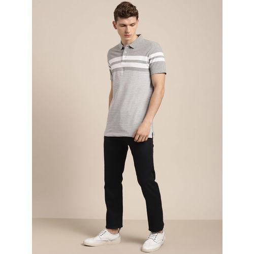 INVICTUS Men Grey & White Striped Polo Collar T-shirt