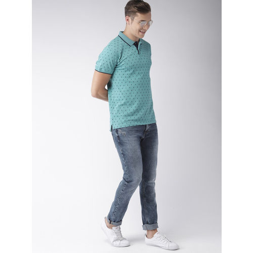 Mast & Harbour Men Blue Printed Polo T-shirt